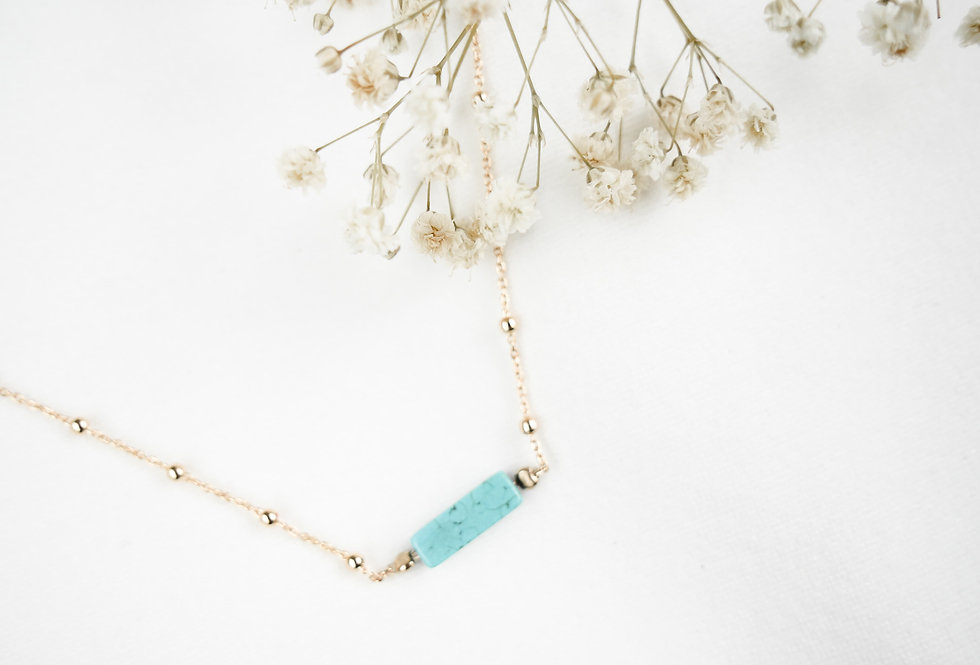 Collier GARANCE - TURQUOISE BLEUE - OR