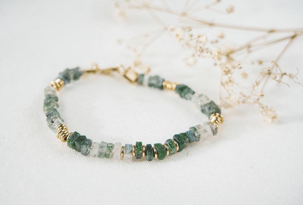Bracelet ACHATES - AGATE MOUSSE - OR