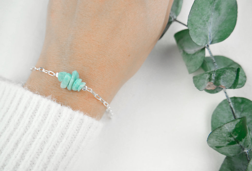 Bracelet INSPIRATIONAL - AMAZONITE - ARGENT