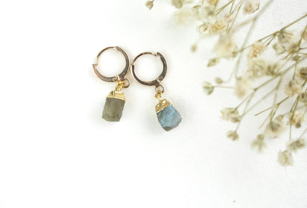 Boucles MINERAL - LABRADORITE - OR
