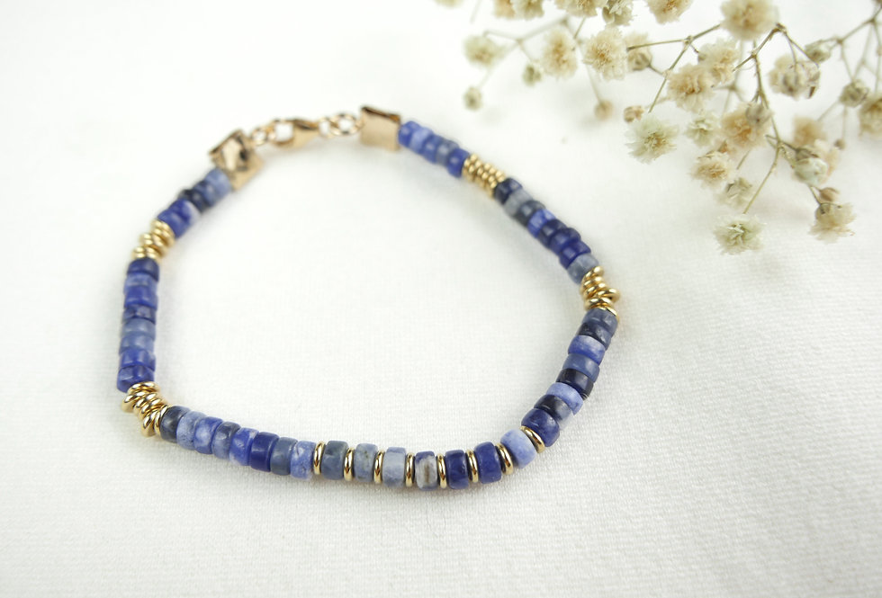 Bracelet LITHOS - SODALITE - OR