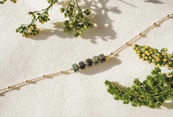 Bracelet CREATIVE - JASPE KAMBALA - OR