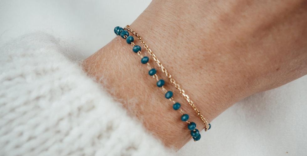 Bracelet double LIYA - PERLES BLEUES - OR