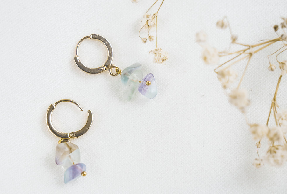 Boucles FLORENCE - FLUORITE - OR