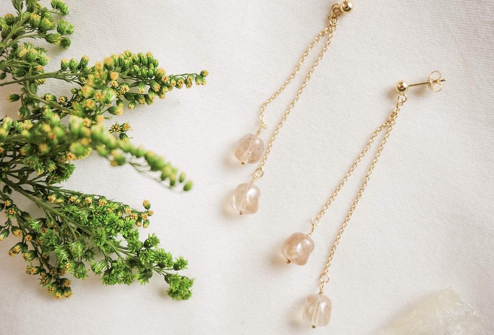 Boucles pendantes doubles IRIS - VERRE DE BOHEME - OR