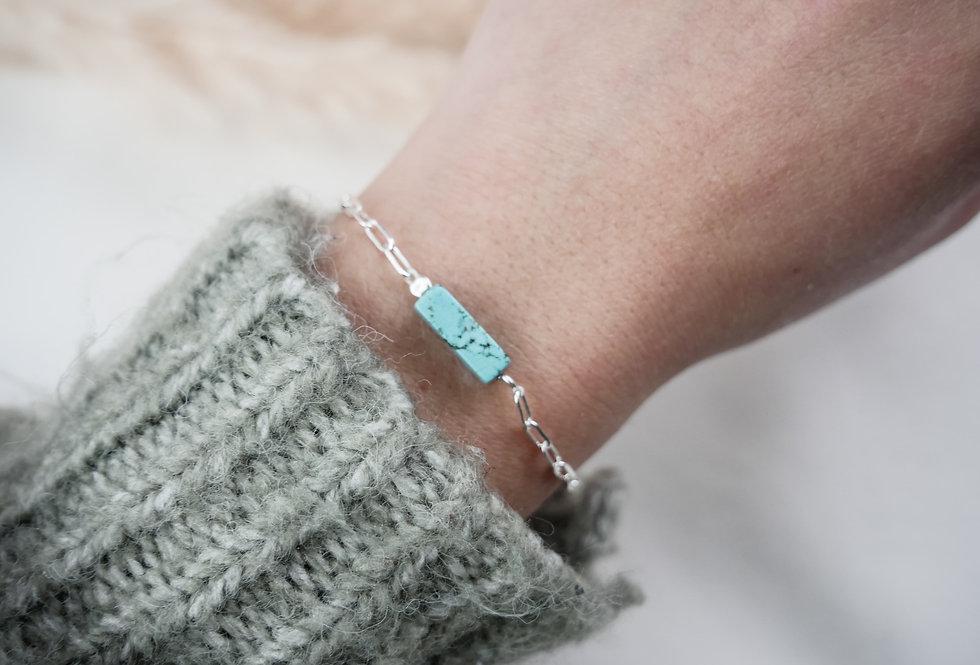 Bracelet GARANCE - TURQUOISE BLEUE - ARGENT