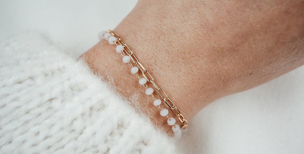 Bracelet double LIYA - PERLES ROSES - OR