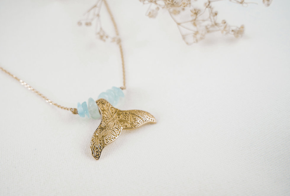 Collier WILLY - AIGUE-MARINE - OR