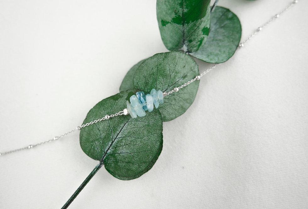 Bracelet INSPIRATIONAL - AIGUE-MARINE - ARGENT