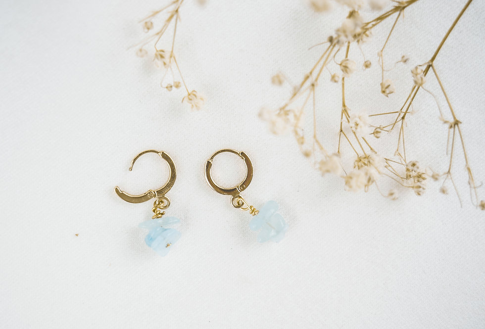 Boucles INSPIRATIONAL - AIGUE-MARINE - OR