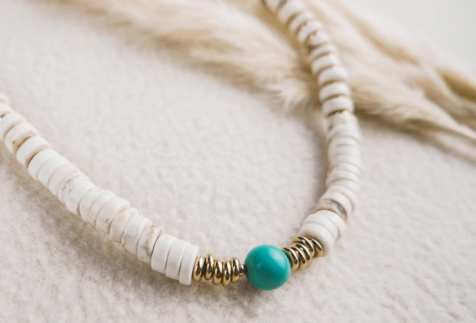 Collier ENZO - HOWLITE BLANCHE - OR