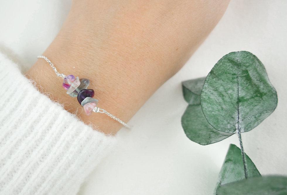 Bracelet INSPIRATIONAL - FLUORITE - ARGENT