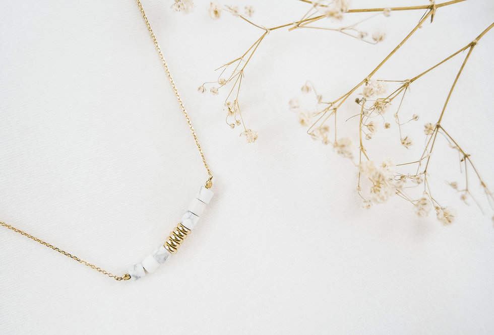 Collier PAOLO - HOWLITE BLANCHE - OR