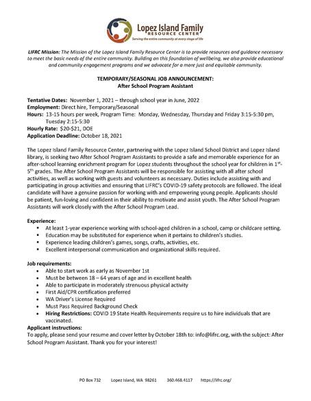 Lead After School Program Job Opportunity