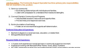 Job Opportunity Community Support Specialist