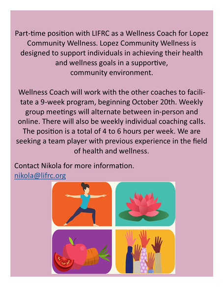Lopez Island Wellness                                    Job Opportunity