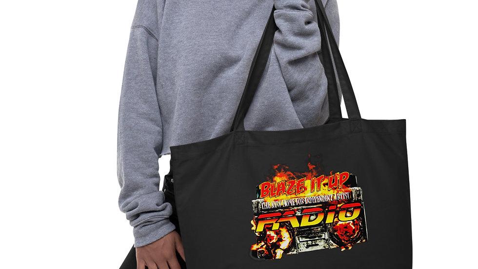 Blaze It Up Radio Large organic tote bag