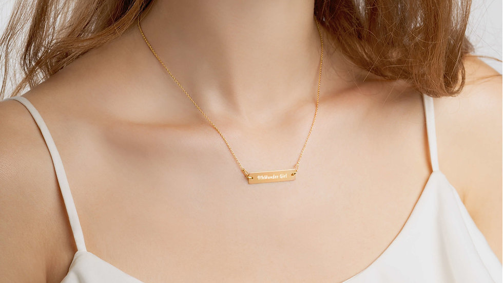 9thWunder Girl Engraved Silver Bar & 24k Gold Chain Necklace