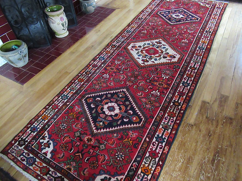3.5 x 10 Hand Tied Persian Hamadan Rug