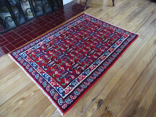 3 x 4 Hand Knotted Irani Caucasian Rug