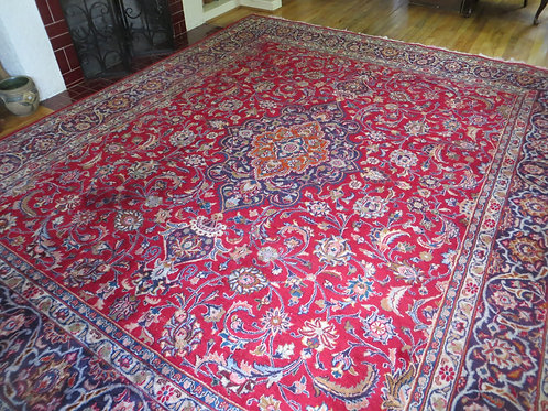 9.5 x 11 Hand Knotted Persian Mashad Rug