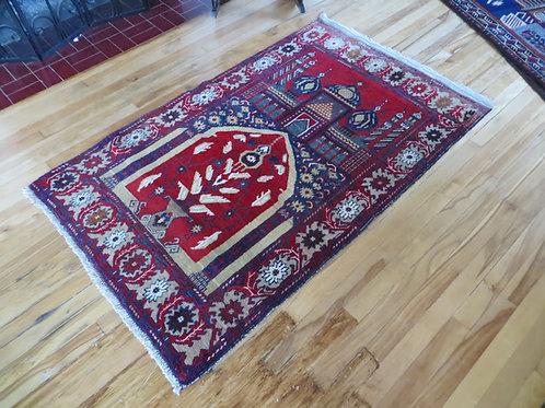 3 x 5 Hand Tied Baluch Mosque Prayer Rug