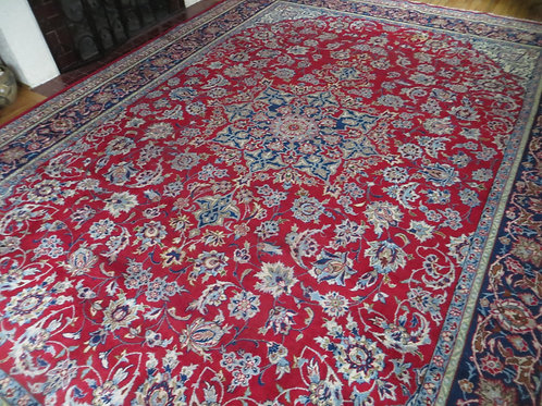 9.5 x 13 Hand Knotted Persian Isfahan Rug