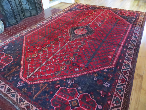 6.5 x 9.5 Hand Tied Persian Afshar Rug
