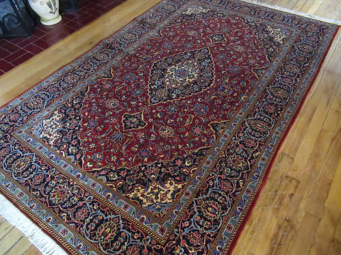 4.5 x 7 Hand Knotted Persian Kashan Rug