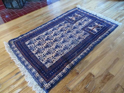 2.5 x 4.5 Hand Tied Baluch Prayer Rug
