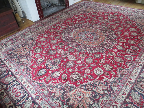 9.5 x 12.5 Persian Hand Knotted Mashad Rug