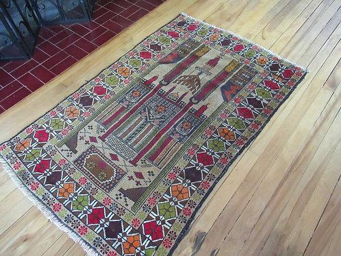 3 x 4.5 Hand Tied Baluch Prayer Rug
