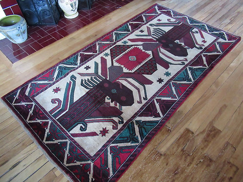 3.5 x 6.5 Hand Tied Baluch Rug