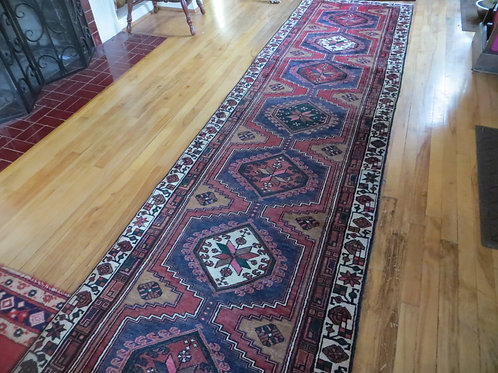 3 x 12.5 Hand Tied Persian Ardabil Rug