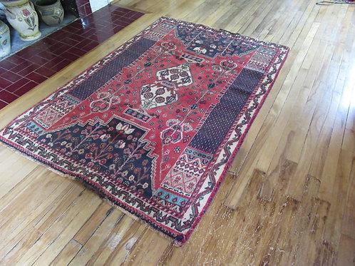 4 x 5.5 Hand Tied Persian Khamseh Rug