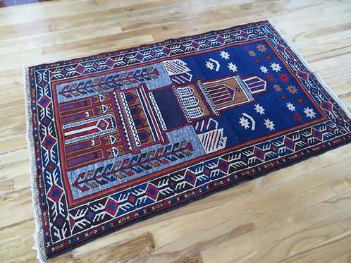 3 x 4.5 Baluch Hand Tied Prayer Rug