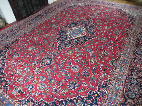 10 x 13.5 Hand Knotted Persian Kashan Rug