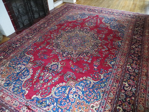 8 x 11.5 Hand Knotted Persian Mashad Rug