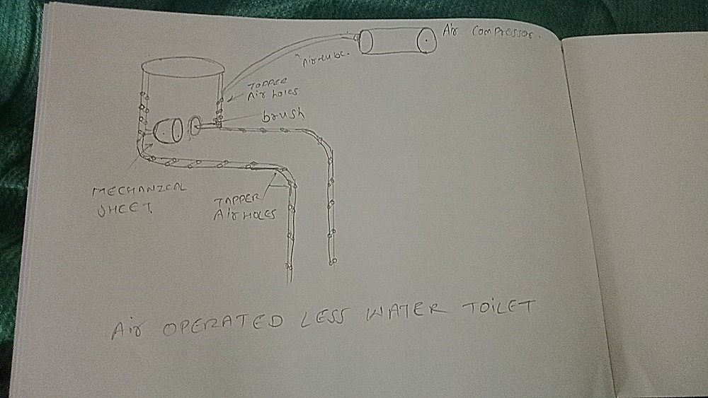 Air operated less water toilet