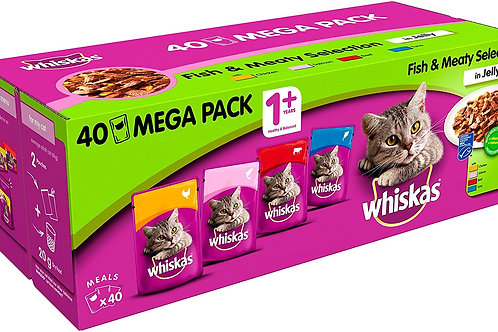 WHISKAS ADULT POUCH MEAT & FISH SELECTION BOX - (40X100G)