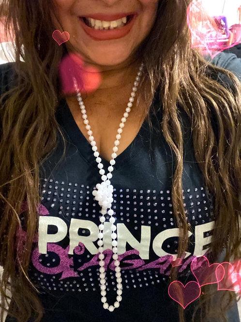 Woman's Prince Again Rhinestone Purple Glitter V-Neck