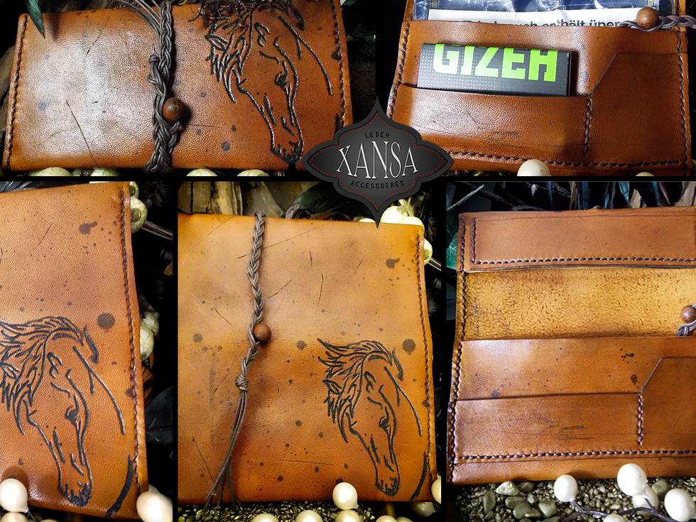 Tabaktasche mit Pferdekopf