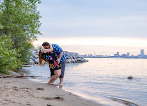 Grab me a cold one, will ya? Milwaukee beer garden engagement session - South Shore Terrace
