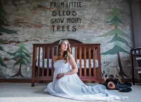 Wisconsin In-Home Maternity Session Featuring Woodland Nursery