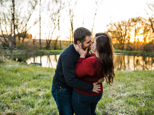 Brian + Emily   Scenic Farmland, Golden Hour Engagement Session   Hartford, Wisconsin