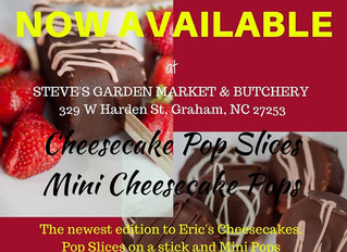 Eric's Cheesecake Pops are now available for sale located locally in Graham NC.