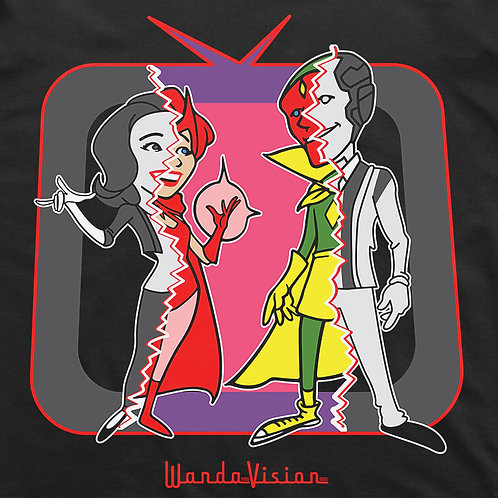 WandaVision Retro Comic Short Sleeve T-Shirt (Black)
