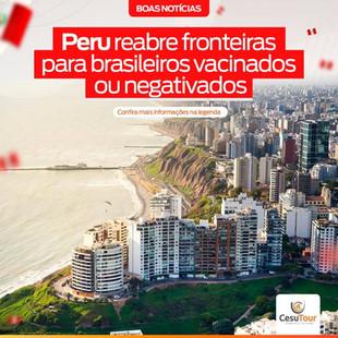 Peru reabre fronteiras para brasileiros vacinados ou negativados