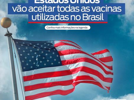 Estados Unidos vão aceitar todas as vacinas utilizadas no Brasil