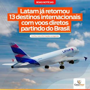 Latam já retomou 13 destinos internacionais com voos diretos partindo do Brasil